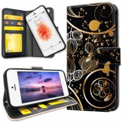 iPhone 5/5S/SE - Mobilfodral Guldmönster gold