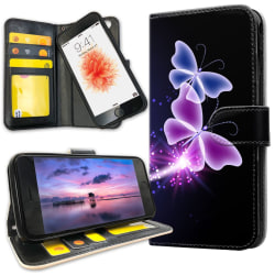 iPhone 7 - Mobilfodral Lila Fjärilar purple