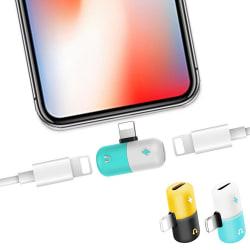 iPhone Splitter & Hörlursadapter - Ladda & Lyssna - Adapter Blå
