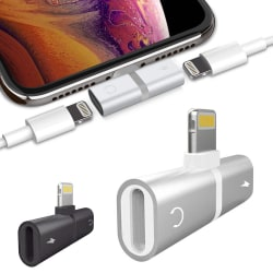 iPhone Splitter & Hörlursadapter - Ladda & Lyssna - Adapter Svart
