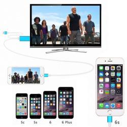 Mobil till TV Adapter - HDMI HDTV - 2m - Apple / iPhone - Rosa Rosa
