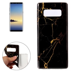 Samsung Galaxy Note 8 - Marmor Skal / Mobilskal (Svart/Gul) Svart