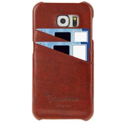 Samsung Galaxy S6 Edge - Läder Skal / Mobilskal Korthållare Brun Brun