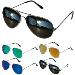 Solglasögon UV / Aviator - Pilot Glasögon med Spegelglas Svart