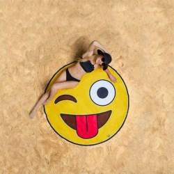 Strandfilt - Matta / Filt till Stranden - Emoji - 150 x 150 cm