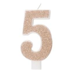 Tårtljus 5 år - Stearinljus - Roseguld/Glitter Rosa guld