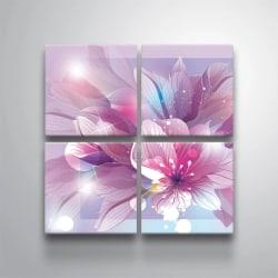 Tavla / Canvastavla Set - Blommor - 30x30 cm - Canvas