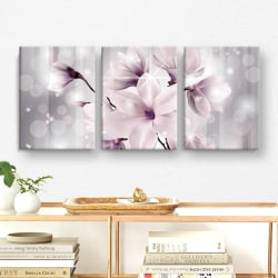 Tavla / Canvastavla Set - Blommor - 90x42 cm - Canvas