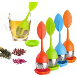 Tesil Löv / Sil för Te - Tehållare i Silikon & Rostfritt Stål Orange