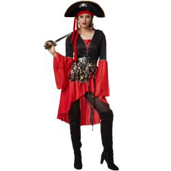 Maskeraddräkt Dam Pirat Drottning Red M