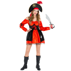 Maskeraddräkt Dam Pirat Mia Stövelrem Red S