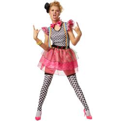 Maskeraddräkt Neonfärgad Clown Pink L