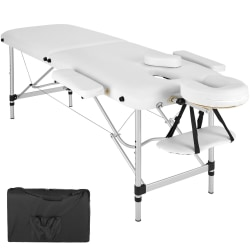 tectake 2-zons massagebänk aluminium, stoppning + väska Vit