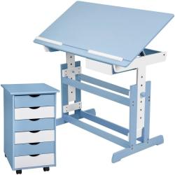tectake barnskrivbord och rullhurts Blå