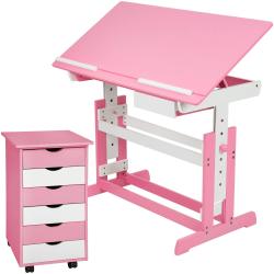 tectake barnskrivbord och rullhurts Rosa
