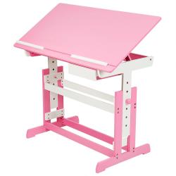 tectake Höj- och sänkbart skrivbord för barn Rosa