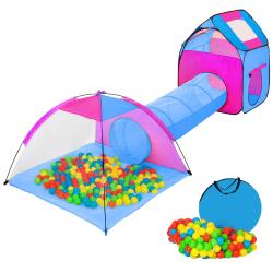 tectake Lektält med tunnel, 200 bollar och väska Blå