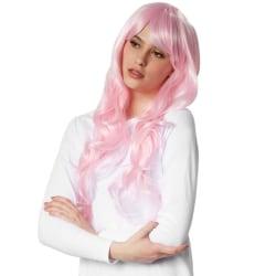tectake Peruk långt hår lockar Rosa