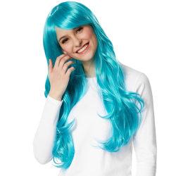 tectake Peruk långt hår lockar Blå