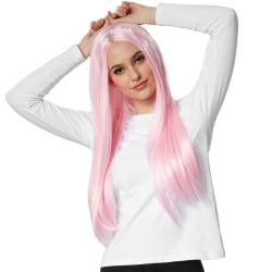 tectake Peruk långt hår platt Rosa