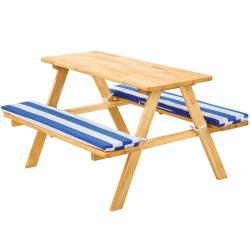 tectake Picknickbänk med sittdyna för barn Blå