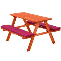 tectake Picknickbänk med sittdyna för barn Röd