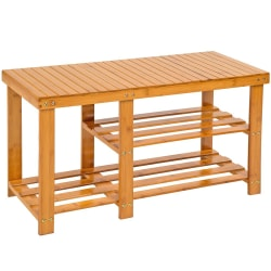 tectake Skohylla av bambu med sittbänk och  två hyllplan Brun