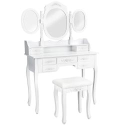 tectake Sminkbord med 7 byrålådor + spegel + pall Vit