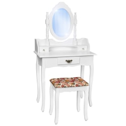tectake Sminkbord med spegel och pall i antik stil Vit