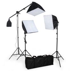 tectake Studiolampor set med glödlampa + softbox Svart