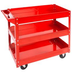 tectake Verkstadsvagn med 3 hyllplan Röd