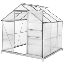 Växthus aluminium/polykarbonat med  fundament - 190 x 185 x 195  Transparent