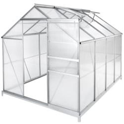 Växthus aluminium/polykarbonat med  fundament - 250 x 185 x 195  Transparent