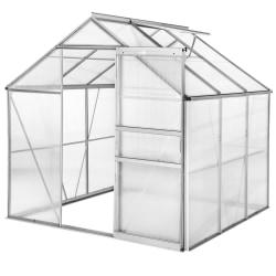 Växthus aluminium/polykarbonat utan fundament - 190 x 185 x 195  Transparent