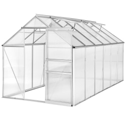 Växthus aluminium/polykarbonat utan fundament - 375 x 185 x 195  Transparent