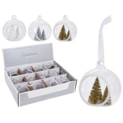 12st Julgranskulor med julgran dekoration inuti