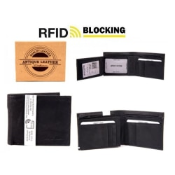 Äkta Anitk Läder Korthållare Plånbok - Rfid Säkert  Svart