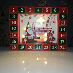 Återanvändbar Trä Adventskalender m LED o 24lådor - Ej fylld