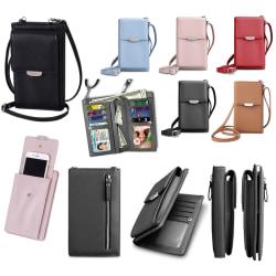 Mobilväska Plånbok Korthållare Väska med Axelrem Svart