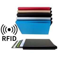 Smart korthållare skjuter Fram 5 kort - RFID Säker Silver