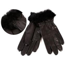 Svarta Dam Äkta Mjuka Läder handskar - Stl S/M/L Black L