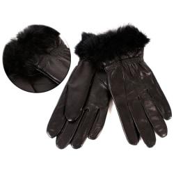Svarta Dam Äkta Mjuka Läder handskar - Stl S Svart S