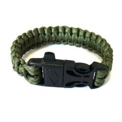 Armband av Paracord tändstål och vissla - grön grön