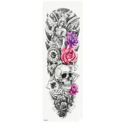 OBS! SE STORLEK! Tillfällig Tatuering - 46x17cm ängel dödskalle
