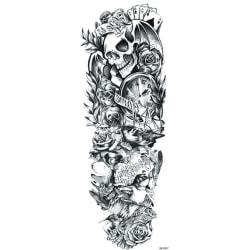 OBS! SE STORLEK! Tillfällig Tatuering - 46x17cm dödskalle