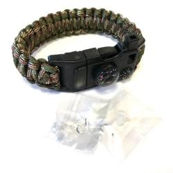 Paracord Armband kraftigt utförande med fiskekit mm skogscamo