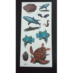 Tillfällig Tatuering 19 x 9cm - 3D fiskar sköldpadda haj