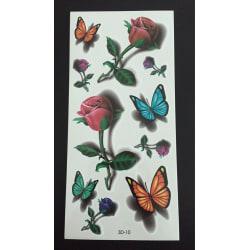 Tillfällig Tatuering 19 x 9cm - 3D ros fjäril
