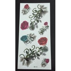 Tillfällig Tatuering 19 x 9cm - 3D rosor