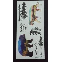 Tillfällig Tatuering 19 x 9cm - björn tiger